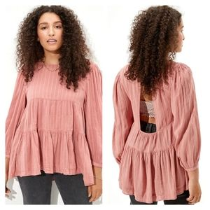 NEW American Eagle Tiered Babydoll Blouse - Rose